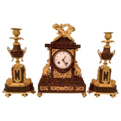 Antique French Ormolu Clock and Candlesticks Set with Rouge Marble, Circa 1880's