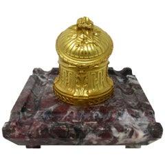 Antique French Ormolu Gilt Bronze Breche Violete Marble Desk Inkwell Centerpiece