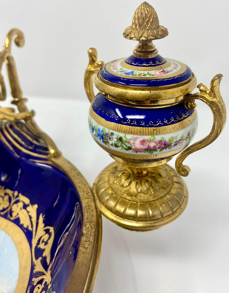 19th Century Antique French Ormolu Mounted Blue