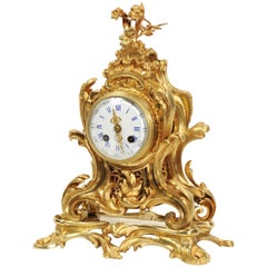 Antique French Ormolu Rococo Clock