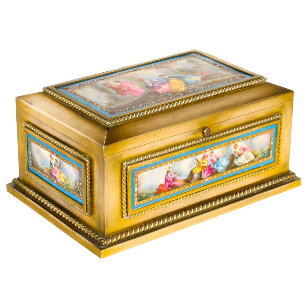 Antique French Ormolu and Sèvres Porcelain Jewelry Casket, 19th Century