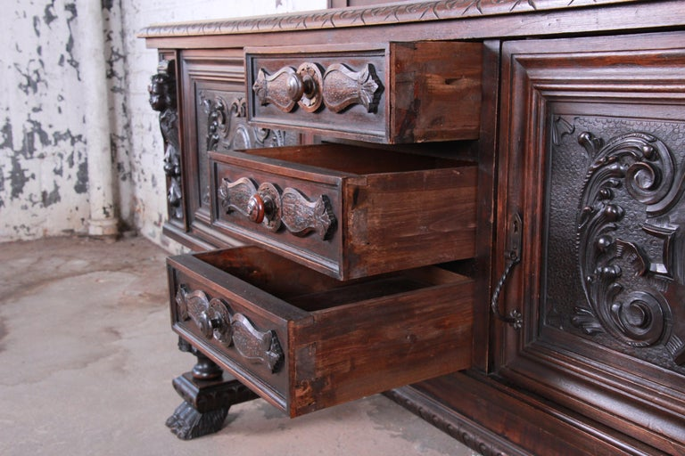 Antique French Ornate Carved Black Forest Sideboard or Bar Cabinet, circa 1890 For Sale at 1stdibs