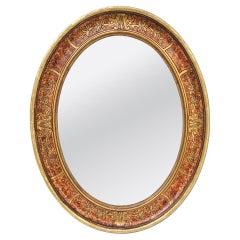 Antique French Oval Art Deco Mirror, circa 1930