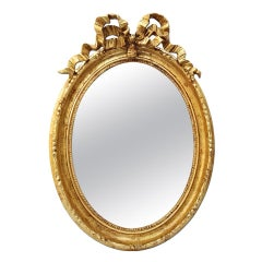 Antique French Oval Giltwood Mirror Louis XVI Style, circa 1890