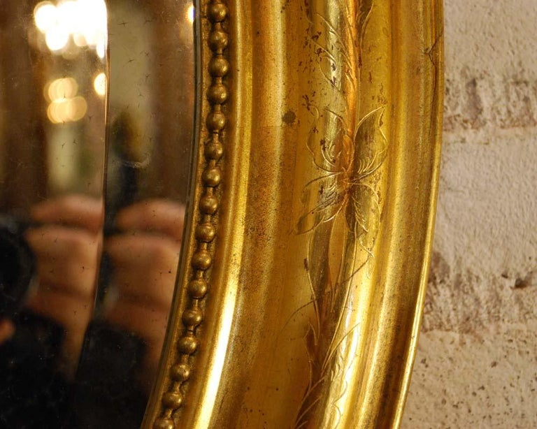 Antique French Oval Gold Gilded Louis Philippe Mirror For Sale 5