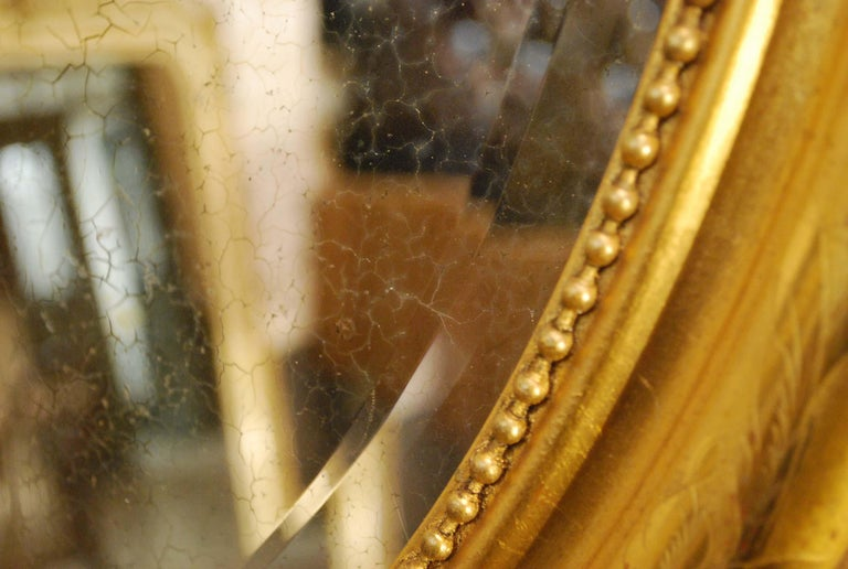 Antique French Oval Gold Gilded Louis Philippe Mirror For Sale 6