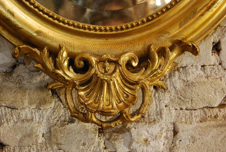 Antique French Oval Gold Gilded Louis Philippe Mirror For Sale 8