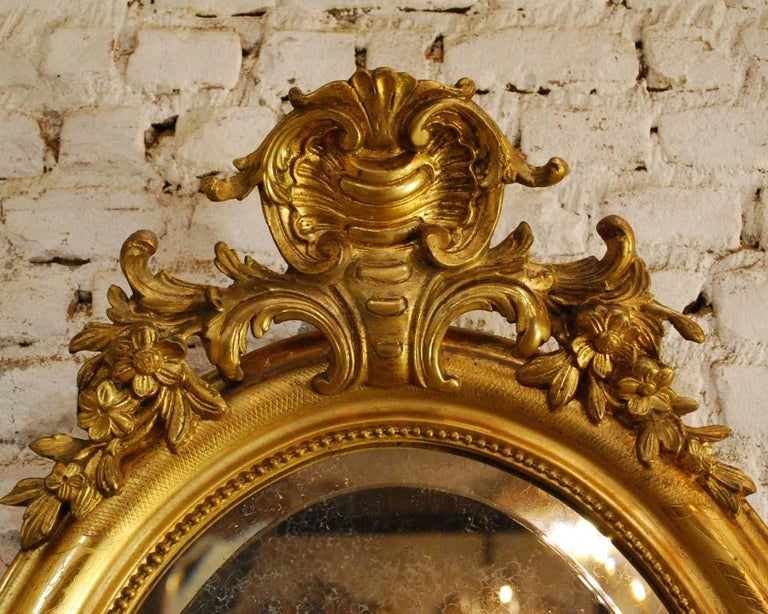 19th Century Antique French Oval Gold Gilded Louis Philippe Mirror For Sale
