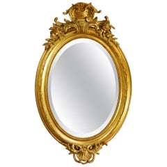 Antique French Oval Gold Gilded Louis Philippe Mirror