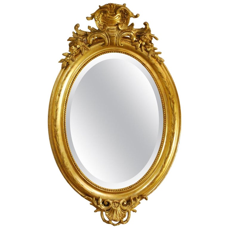 Antique French Oval Gold Gilded Louis Philippe Mirror For Sale