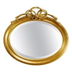 Antique French Oval Gold Gilt Mirror with Braided Rope Bow Crest