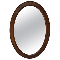 Antique French Oval Wood Framed Wall Mirror