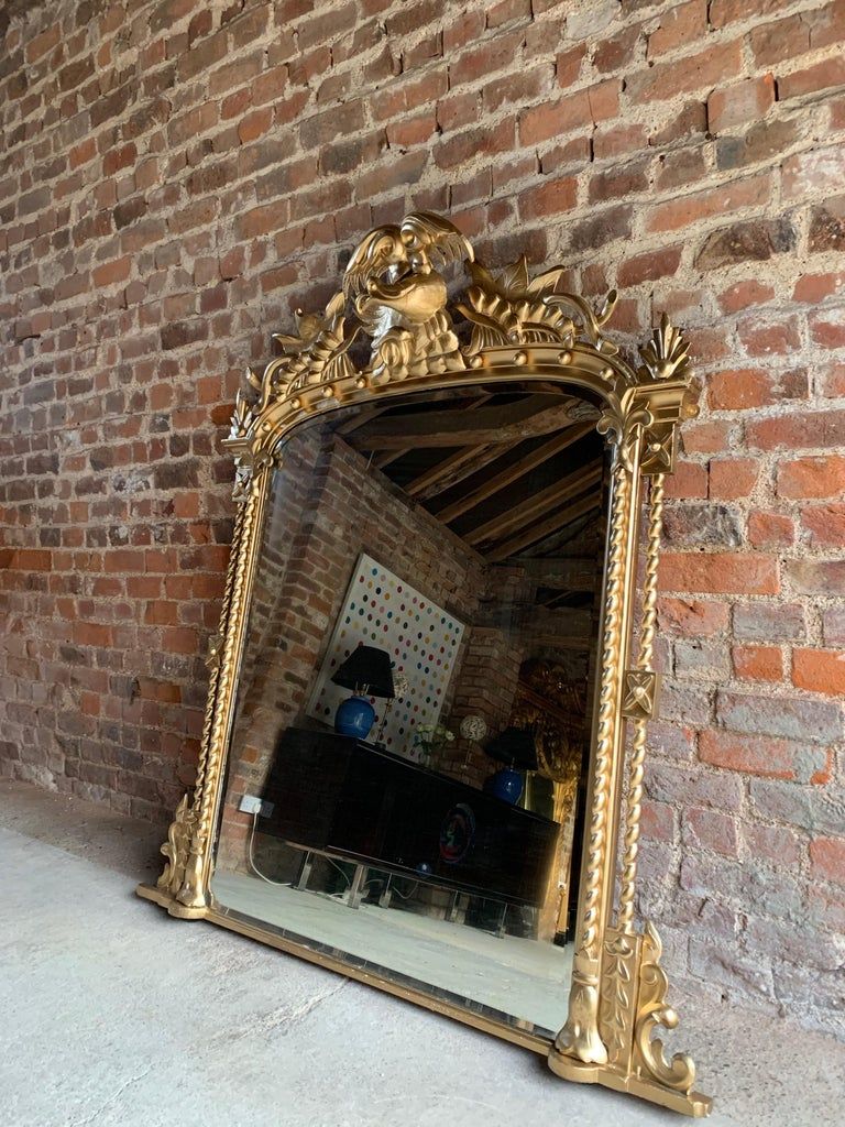Antique French Overmantle Mirror Louis Xv Style 19th