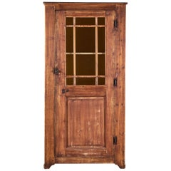 Antique French Painted Cabinet Glazed Door, circa 1830