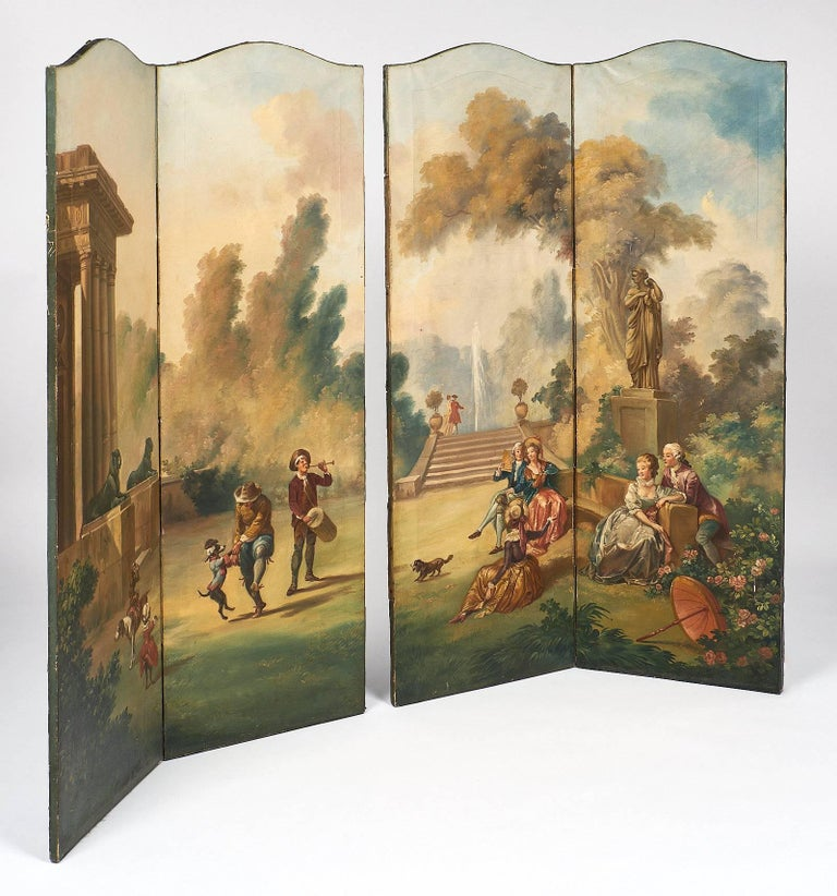 Antique French Painted Canvas Screen In Good Condition For Sale In Austin, TX