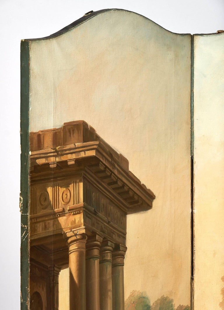 Mid-19th Century Antique French Painted Canvas Screen For Sale