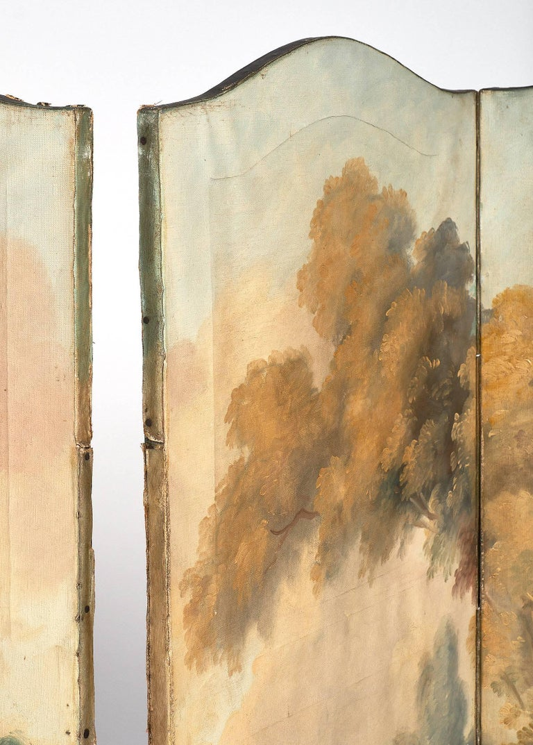 Antique French Painted Canvas Screen For Sale 1