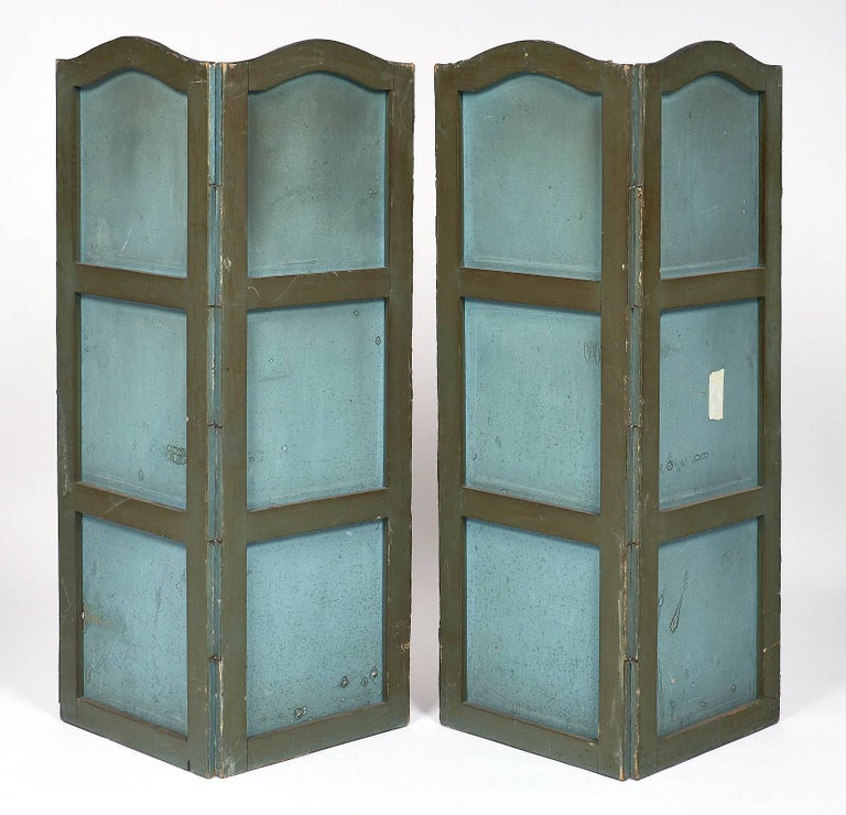 Antique French Painted Canvas Screen For Sale 5