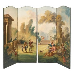 Antique French Painted Canvas Screen