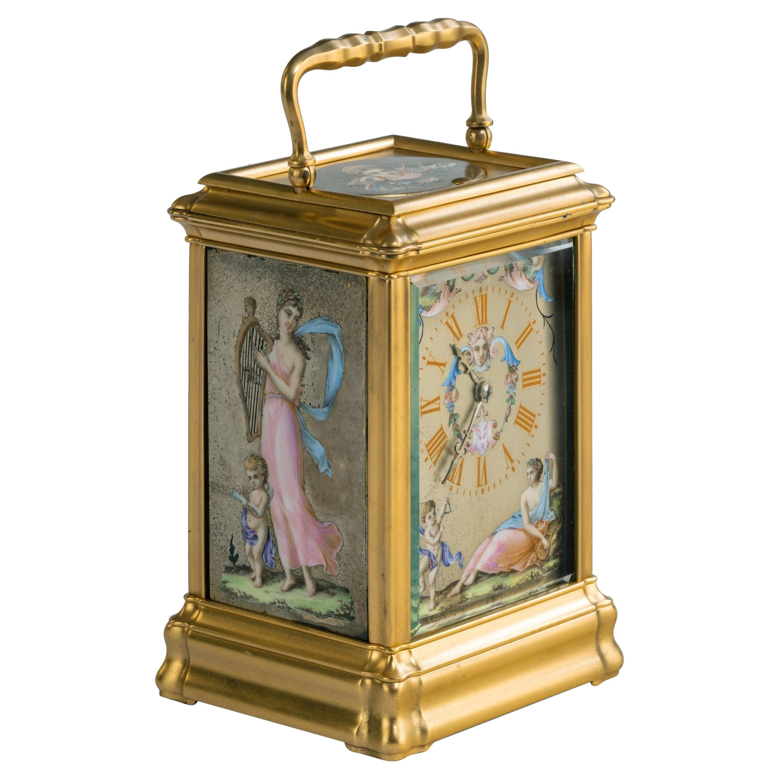 Antique French Painted Carriage Clock
