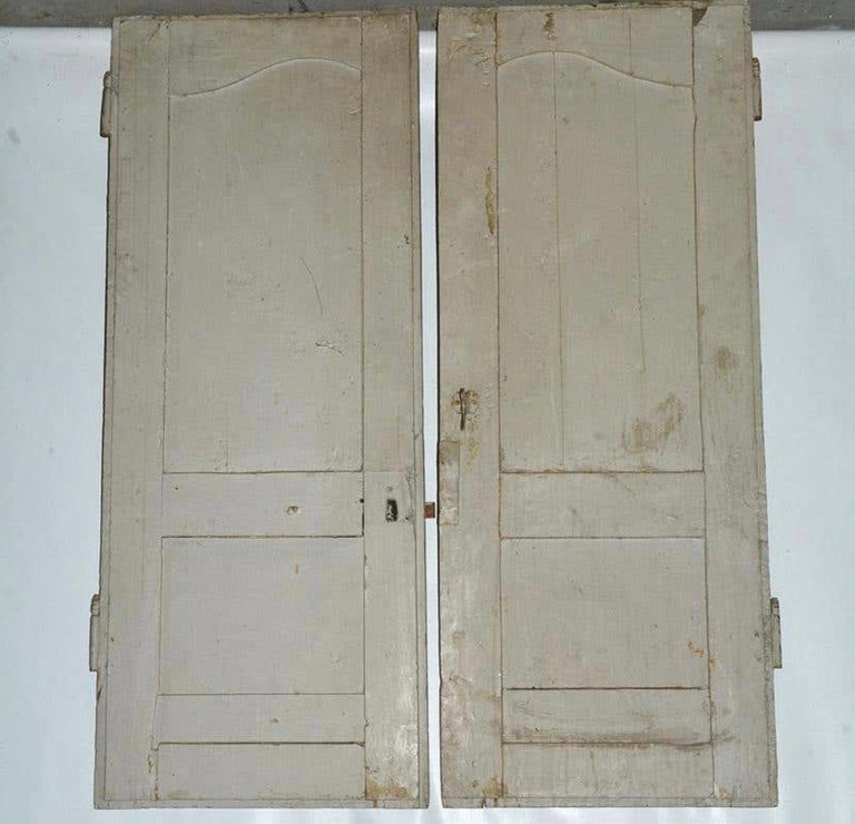 Antique French Painted Paneled Cupboard Doors For Sale 3