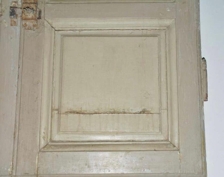 French Provincial Antique French Painted Paneled Cupboard Doors For Sale