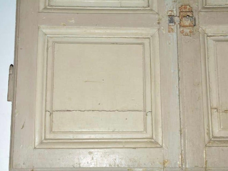 Hand-Painted Antique French Painted Paneled Cupboard Doors For Sale