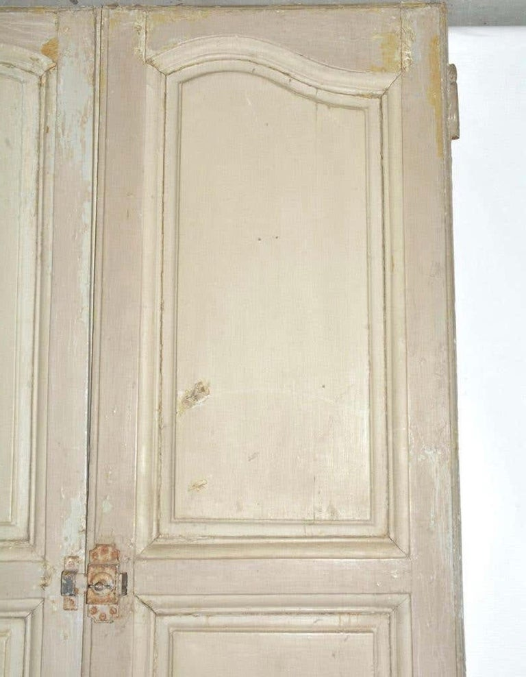Antique French Painted Paneled Cupboard Doors In Distressed Condition For Sale In Great Barrington, MA