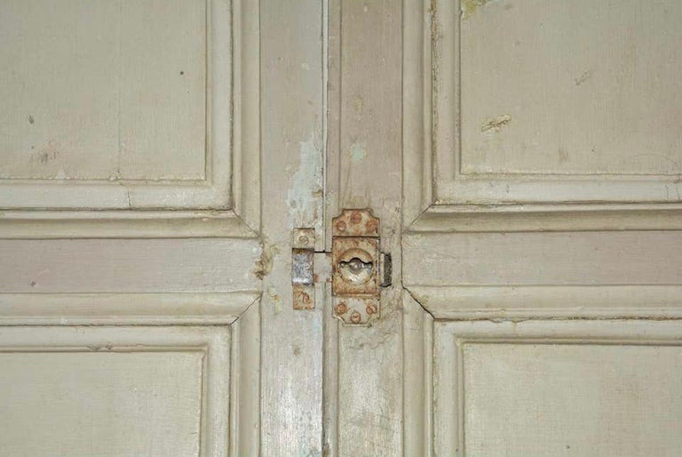 Antique French Painted Paneled Cupboard Doors For Sale 2