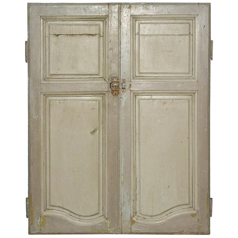 Antique French Painted Paneled Cupboard Doors
