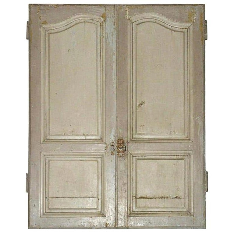 Antique French Painted Paneled Cupboard Doors For Sale