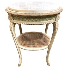 Antique French Painted Side Table with Carrara Marble Top