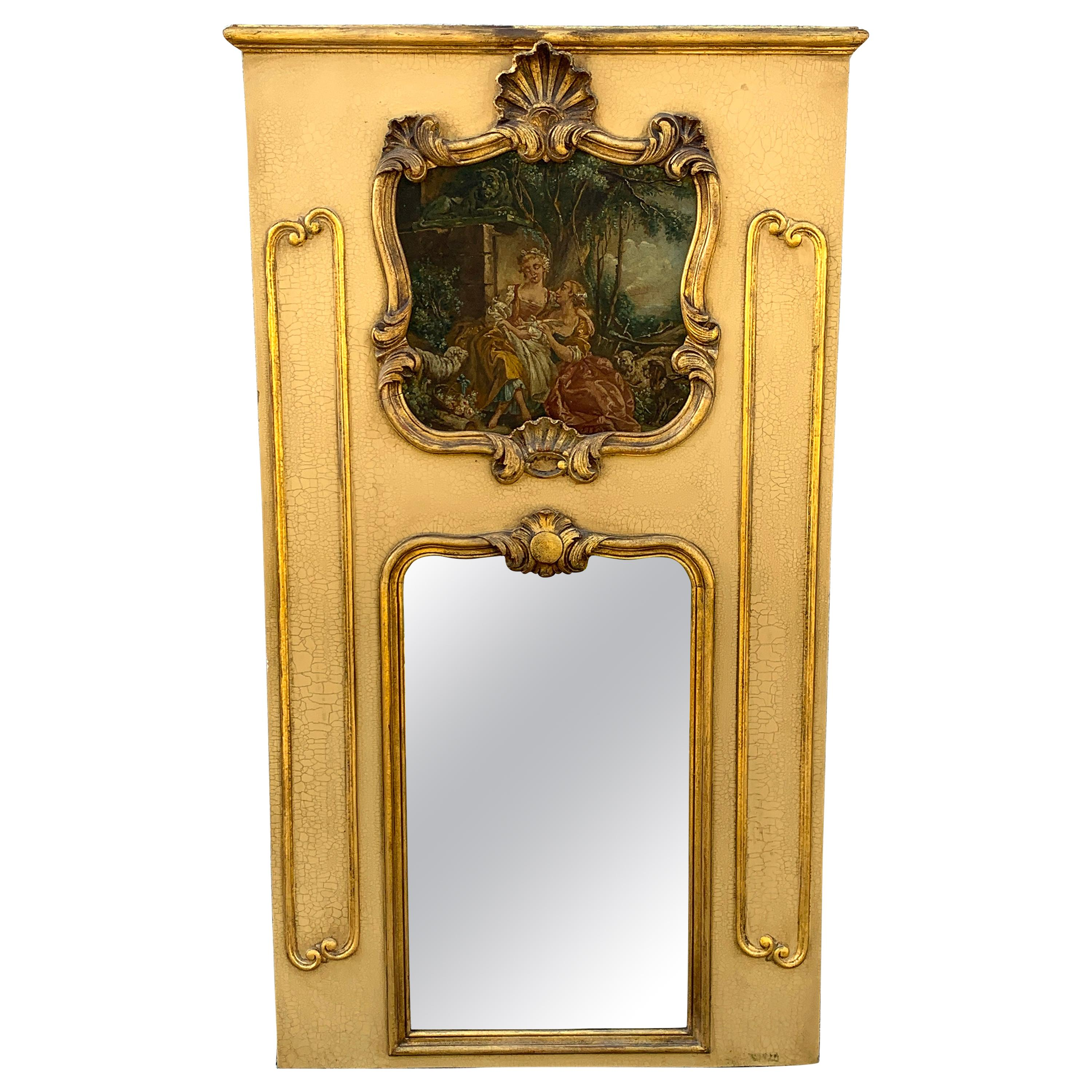 Antique French Painted Trumeau Mirror, With d'apres Boucher Painting