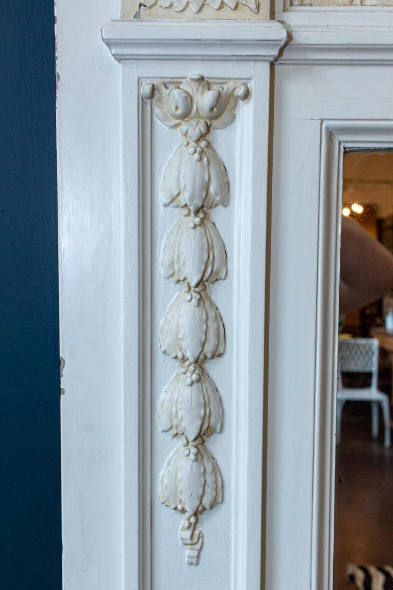 Antique French Painted Trumeau Mirror with Plaster Panel Detail in Antique White For Sale 7