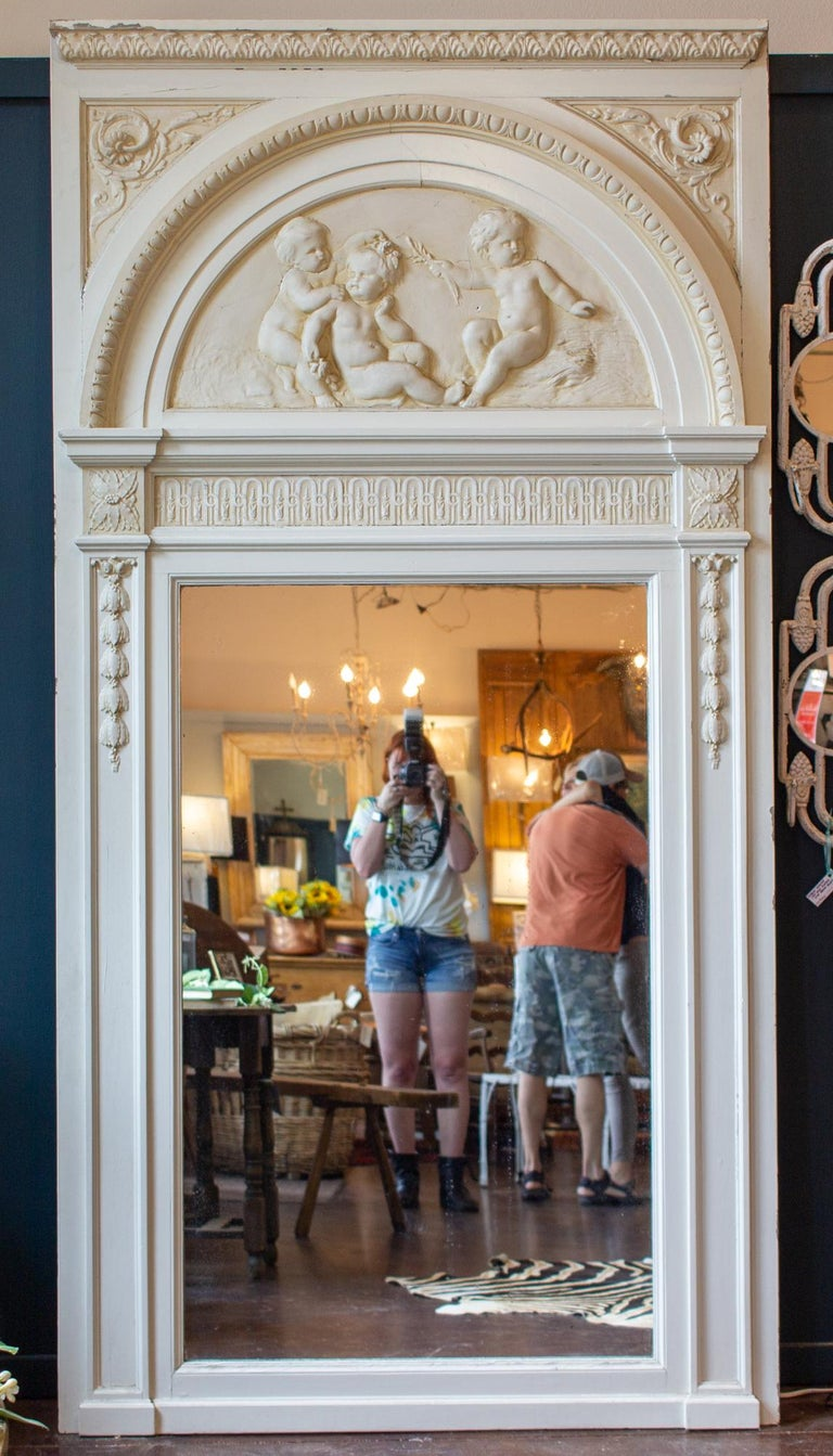 Antique French Painted Trumeau Mirror with Plaster Panel Detail in Antique White For Sale 14