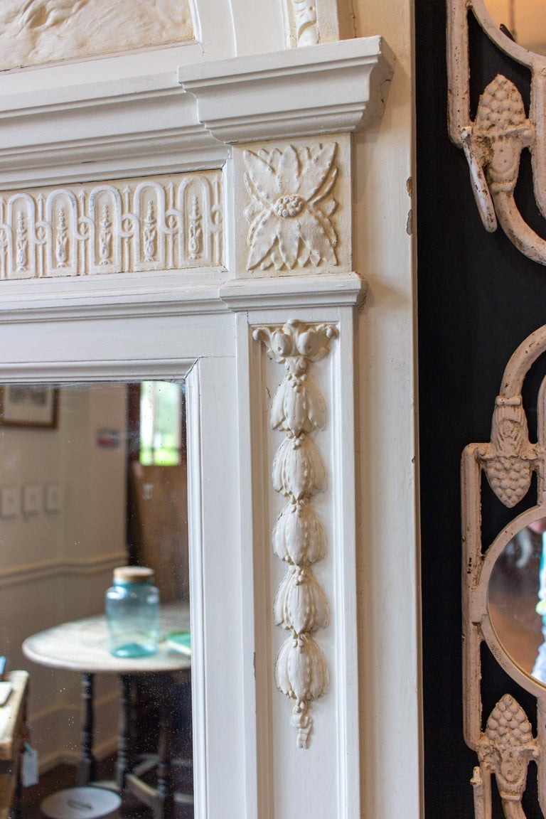 Antique French Painted Trumeau Mirror with Plaster Panel Detail in Antique White In Good Condition For Sale In Houston, TX