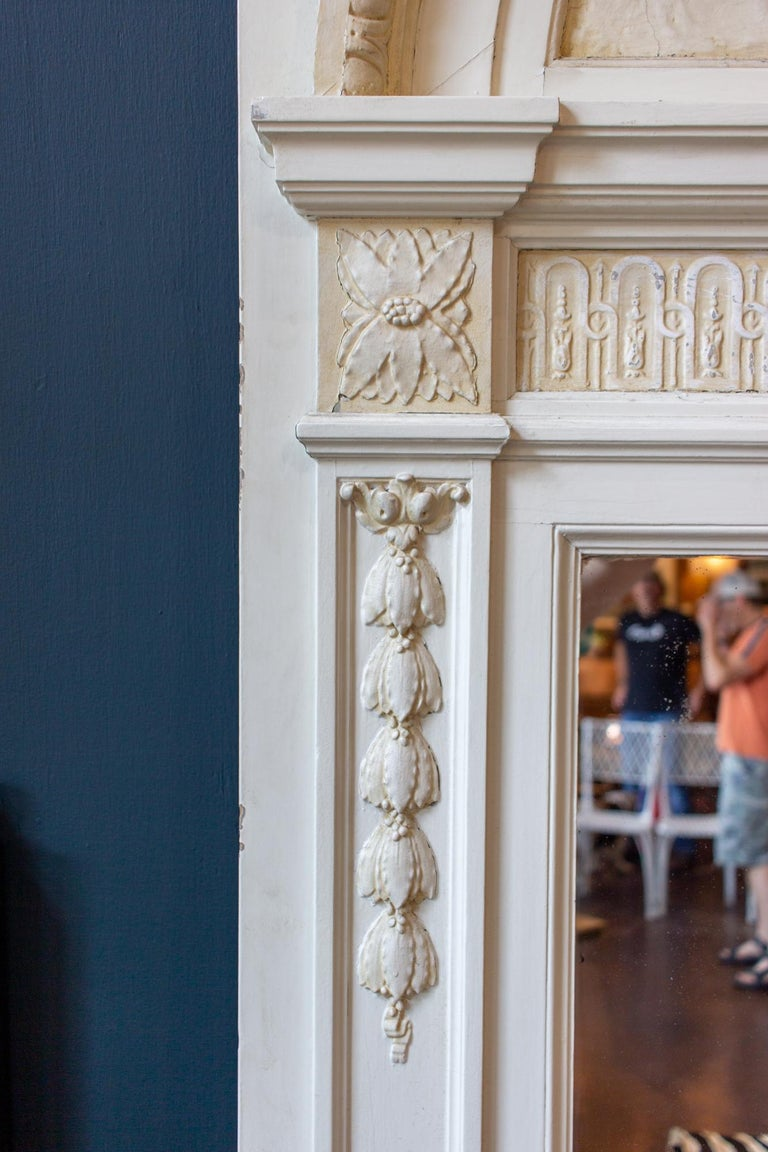 Early 20th Century Antique French Painted Trumeau Mirror with Plaster Panel Detail in Antique White For Sale