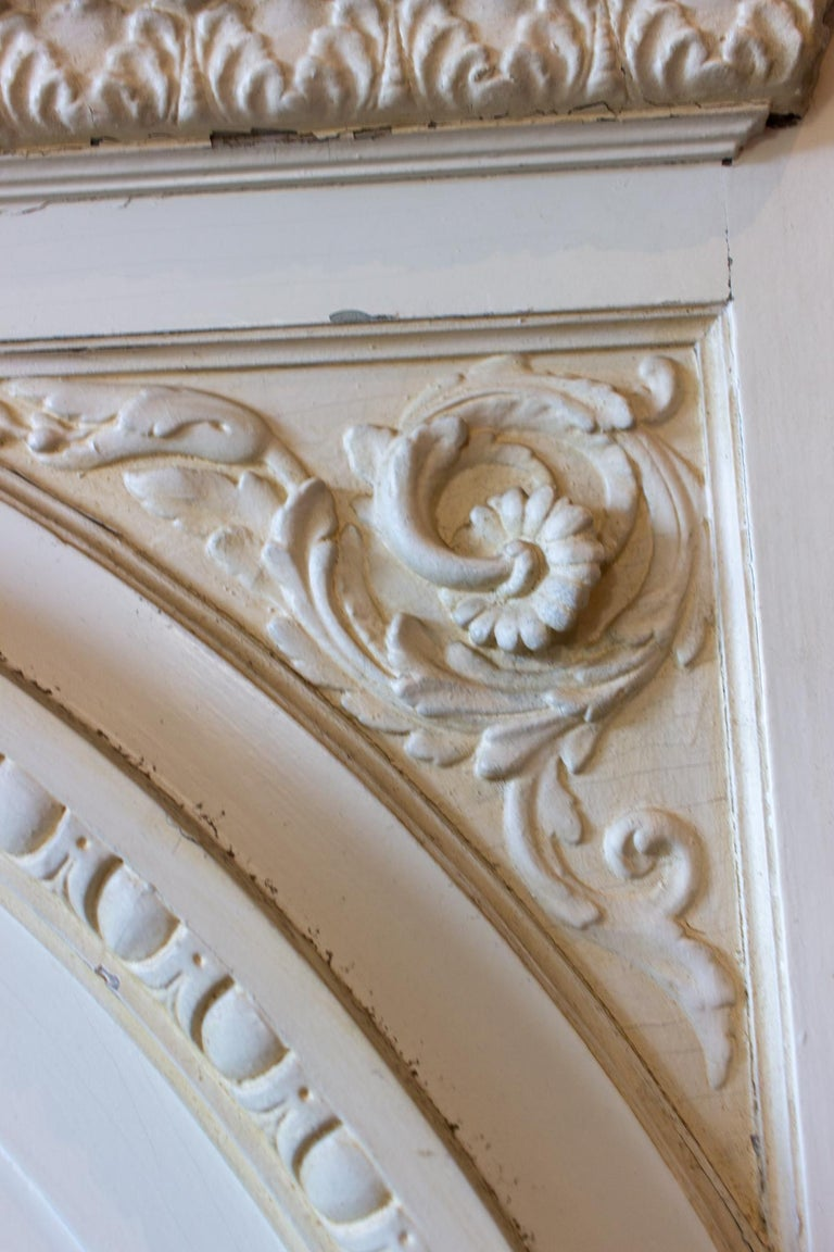 Antique French Painted Trumeau Mirror with Plaster Panel Detail in Antique White For Sale 2
