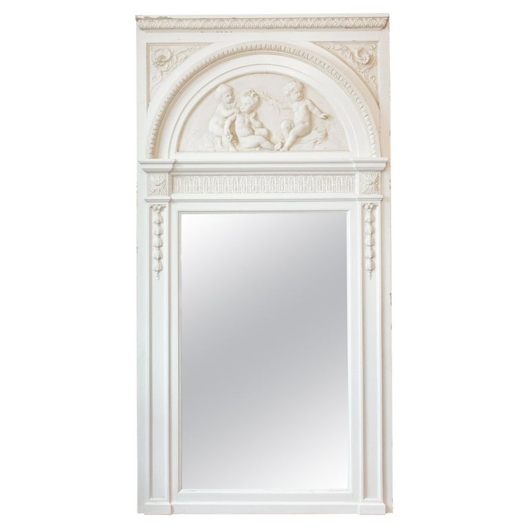 Antique French Painted Trumeau Mirror with Plaster Panel Detail in Antique White For Sale