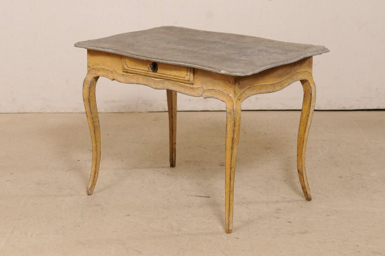 Antique French Painted Wood Bonheur-du-jour or Occasional Table w/Single Drawer For Sale 6