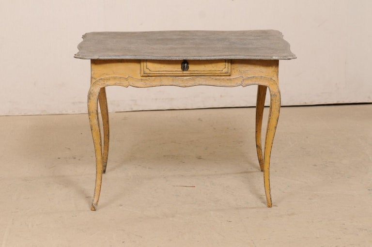 Antique French Painted Wood Bonheur-du-jour or Occasional Table w/Single Drawer For Sale 7