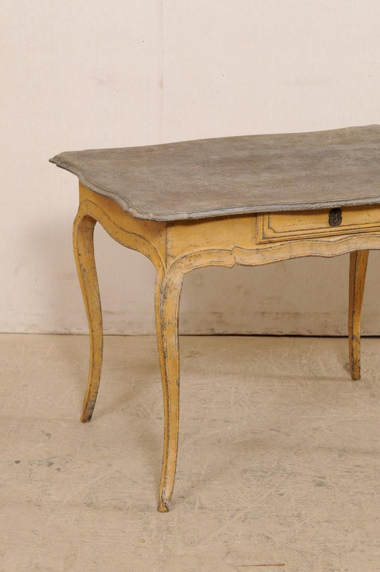 Antique French Painted Wood Bonheur-du-jour or Occasional Table w/Single Drawer In Good Condition For Sale In Atlanta, GA
