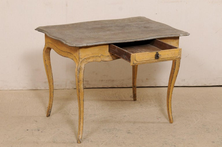 18th Century Antique French Painted Wood Bonheur-du-jour or Occasional Table w/Single Drawer For Sale