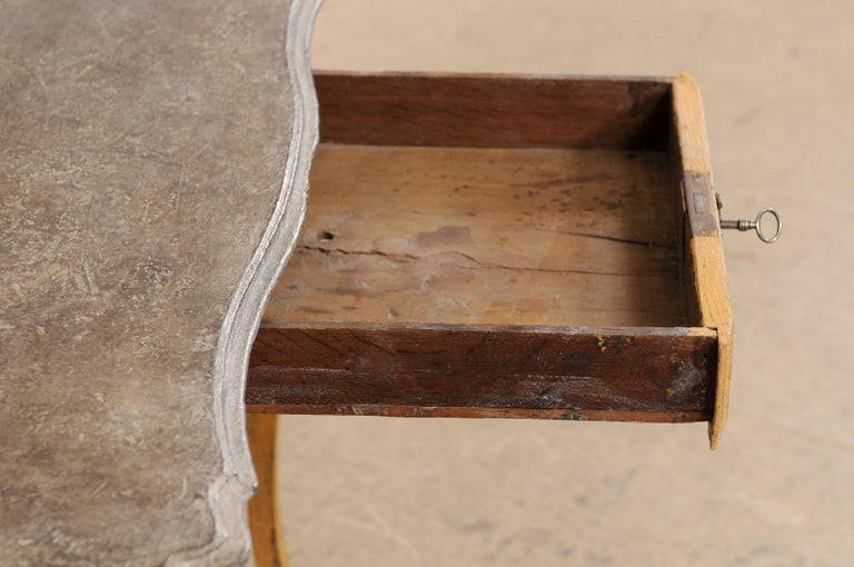 Antique French Painted Wood Bonheur-du-jour or Occasional Table w/Single Drawer For Sale 1