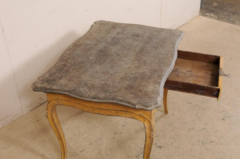 Antique French Painted Wood Bonheur-du-jour or Occasional Table w/Single Drawer For Sale 2