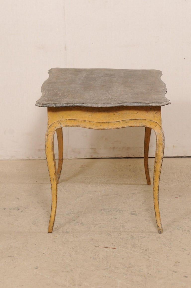Antique French Painted Wood Bonheur-du-jour or Occasional Table w/Single Drawer For Sale 3
