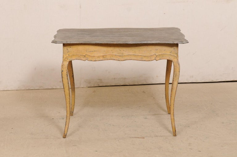 Antique French Painted Wood Bonheur-du-jour or Occasional Table w/Single Drawer For Sale 4