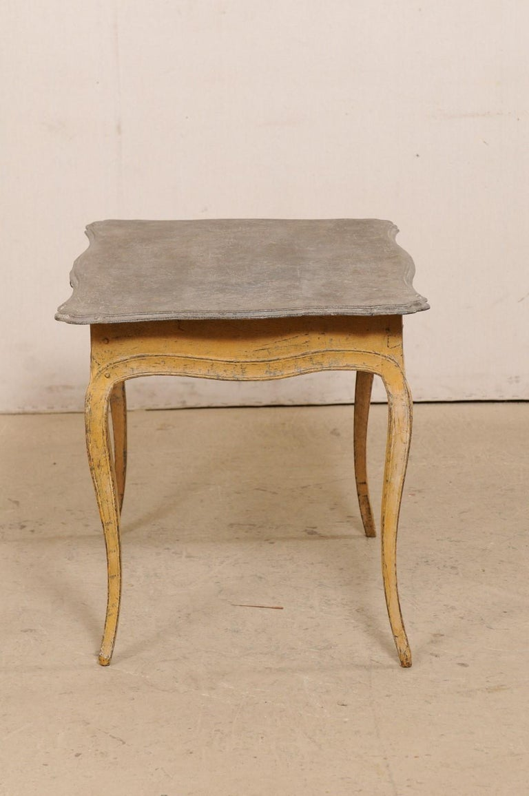 Antique French Painted Wood Bonheur-du-jour or Occasional Table w/Single Drawer For Sale 5