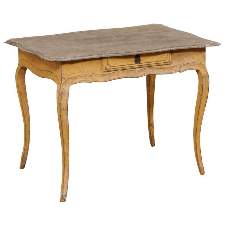 Antique French Painted Wood Bonheur-du-jour or Occasional Table w/Single Drawer For Sale