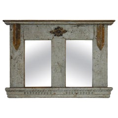 Antique French Painted Wood Frame/Mirror with Gilding